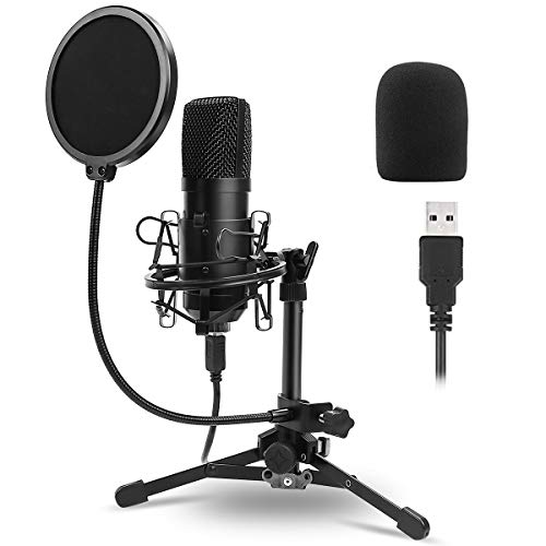 DricRoda USB Microphone,Professional Computer Mic Podcast Mic 192kHz/24bit Studio Condenser Microphone with Tripod Stand,Shock Mount and Pop Filter for Recording,Gaming,YouTube,Plug & Play