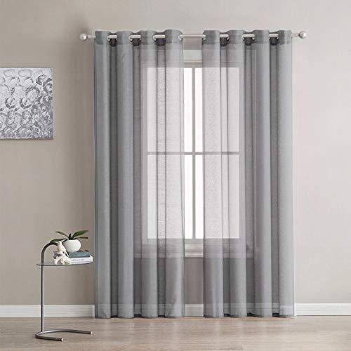 lalafancy 2 Piezas Cortinas Visillos para Ventanas Cortina Transparente Suave con Ojales para Dormitorio y Salón Habitación,140 x 245 cm, Gris