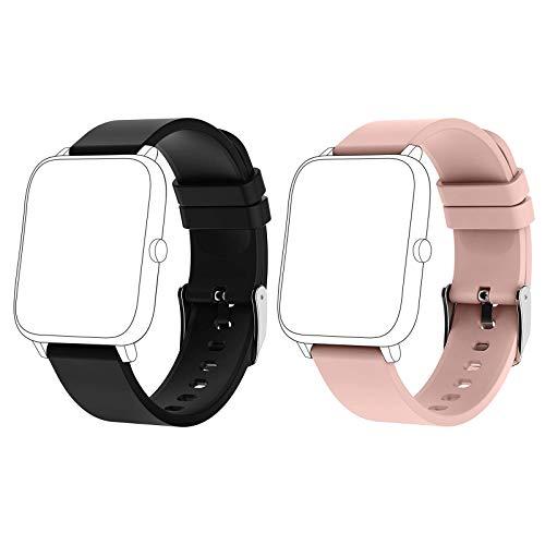 Popglory Correas de reloj inteligente, correas de repuesto ajustables para reloj deportivo P22C, bandas de repuesto con 2 unidades, 20 mm, color negro y rosa