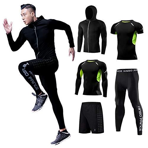 (コージョー) kojo コンプレッションウェア セット スポーツウェア メンズ 上下 セット トレーニング ランニング ジム フィットネス 吸汗 速乾 (L, 黒&緑_0105(5点セット))