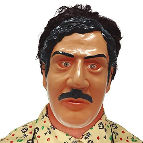 NET TOYS Angesagte Mafiosi Gesichtsmaske Pablo - Hautfarben-Schwarz - Extravagante Party-Maskerade Gangster Maske Verbrecher für Erwachsene - Perfekt geeignet für Fasching & Karneval