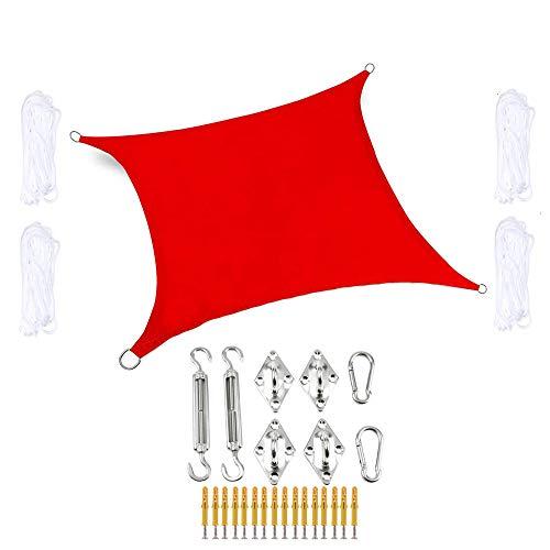 WYY Rode zonnezeil waterafstotend, zonwering geïmpregneerd polyester overkapping met accessoires 95% UV-blok rechthoekige luifels voor terras balkon en tuin