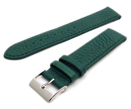 Super Soft Cow Hide Leder Uhrenarmband von Condor grün 20mm breit, Chrom (Silber Farbe) Schnalle 348r.11