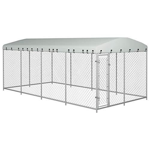vidaXL Outdoor Hundezwinger mit Überdachung 8x4x2m Hundekäfig Hundehütte