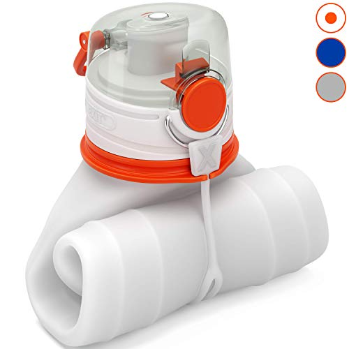 EXIT Collapsible Water Bottle - Foldable Water Bottle for Travel - BPA Free - Premium Medical Grade Silicone - Triple Leak Proof - Lightweight - 26 oz (White)