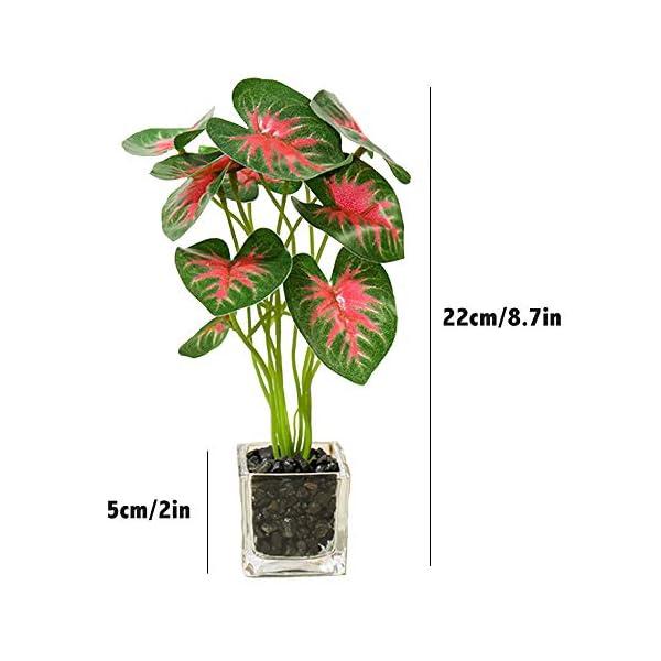 Aisamco Conjunto de 3 Plantas Artificiales Faux Tabletop Green con macetas de Vidrio Transparente Plantas de Seda en…