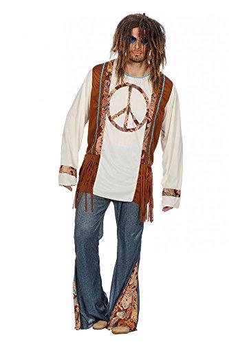 shoperama Hippie Peace Herren-Kostüm mit Jeans-Schlaghose 60er 70er Jahre Seventies Sixties Flower Power, Größe:52
