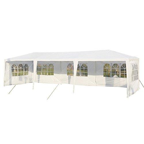 MCTECH® 9 x 3 m Gartenzelt Pavillon Bierzelt Partyzelt Festpavillon inklusive 5 Seitenwände, 5 x Fenster, Wasserdicht PE Plane in Weiß (9 x 3 m mit 5 Seitenwände, Weiß)