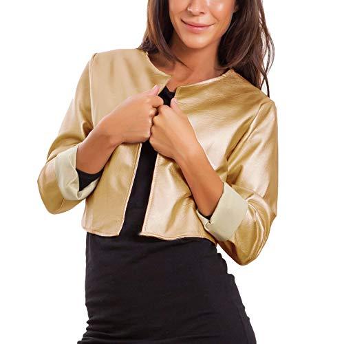 Toocool - Women's Jacket Short Faux Leather Bolero Without Closure Sexy Jacket JL-7860 - Gold - One size