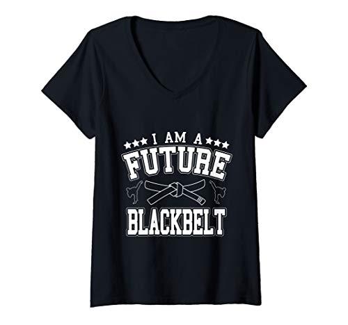 Damen I Am A Future Blackbelt Self Defense Instructor T-Shirt mit V-Ausschnitt