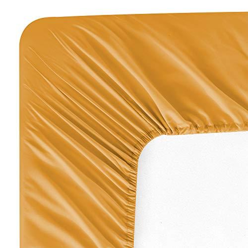 Wavva Bedding Modern Solid Color Fitted Sheet - 1800 Deep Pocket Brushed Velvety Microfiber (King, Inca Gold)