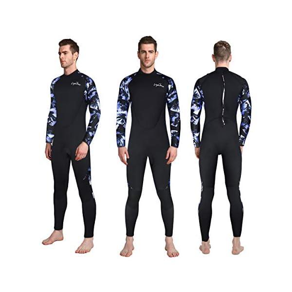 LayaTone Diving Suit Men 3mm Neoprene Suit Full Wetsuit Scuba Divng Swimsuit Kayaking Swimming Spearfishing Suit Men