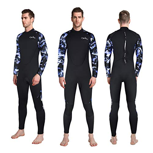 LayaTone Full Wetsuit Men 3mm Neoprene Suits Super Stretch Surfing Spearfishing Underwater Scuba Diving Suit Kayak Canoeing Suits Men Back Zipper Full Body Wet Suits