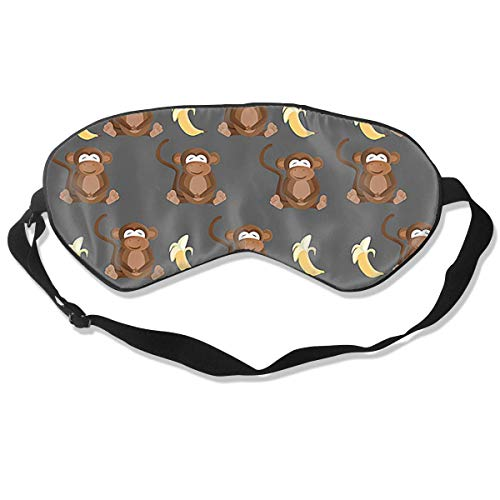 Lightweight and Comfortable Super Soft Adjustable Monkey Lovs Banana Eye Mask for Sleeping Shift Work Naps Night Blindfold Eyeshade for Men and Women
