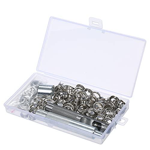 KKmoon 100 piezas ojales, alicates para ojales, juego de herramientas con caja de almacenamiento, sacabocados y punzón, ojales para bolsas de tela de cuero