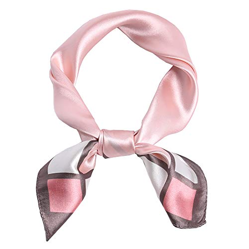 Harewom Pañuelo de seda de satén para mujer, 35 pulgadas, formal, cuadrado, cuello, Bloque rosa claro, 23inch