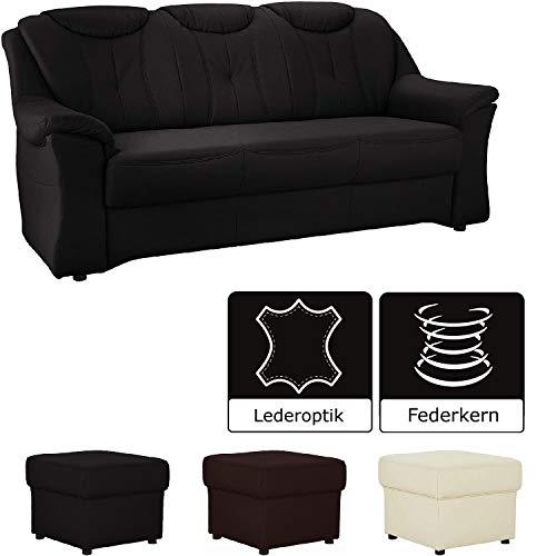 Cavadore 3-Sitzer Sofa Salona / 3er Sofa mit Federkern im klassischen Design / 201 x 93 x 93 / Lederoptik Schwarz