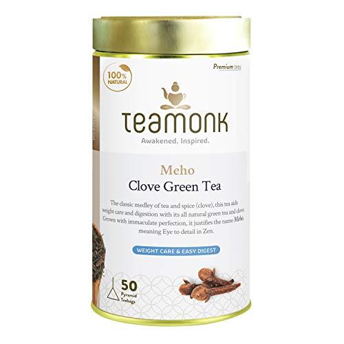 Teamonk Meho Blue Mountain Clove Green Tea Bags - 50 Tea Bags | 100% Natural Clove Tea | Clove Tea for Weight Loss | Slimming Tea | Tea for Digestion | No Additives
