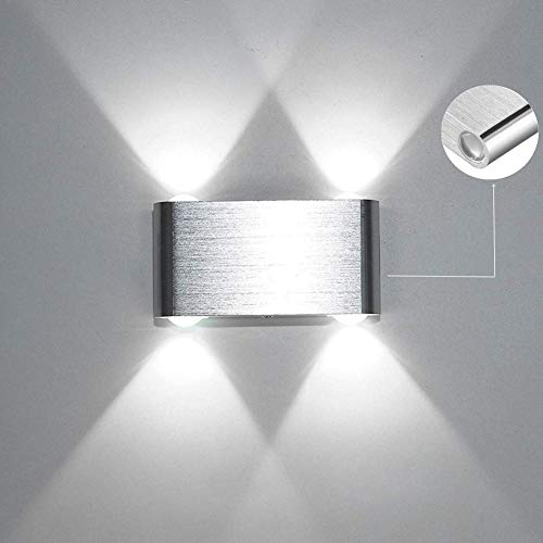 Louvra Apliques de Pared Lámpara de Pared Puro Aluminio 4W, Iluminación de Pasillo, Escalera, Dormitorio, Comedor, Blanco Frío