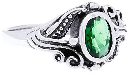 WINDALF Damen Mittelalter-Ring SÎNA 10 mm Grüner Smaragd 925 Sterlingsilber (Silber, 50 (15.9))