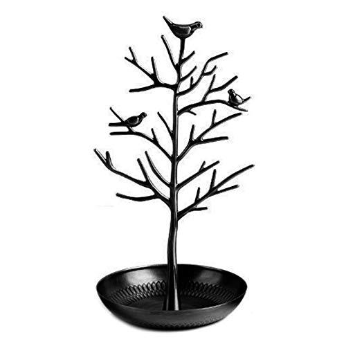 Pinenuts Soporte de exhibición para joyas de árbol, árbol de pájaros antiguos, soporte para pulseras, organizador de joyas, accesorios para colgar (1 unidad) (negro)