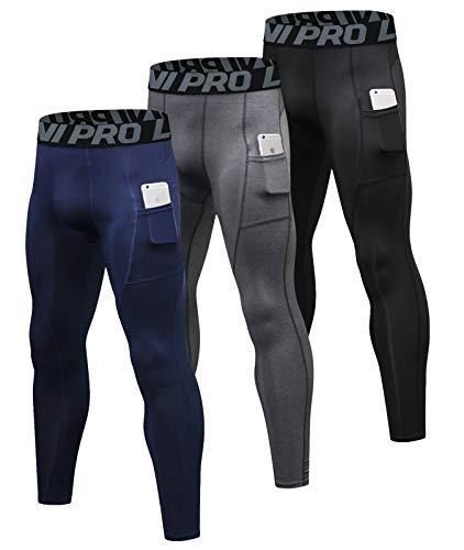 LNJLVI Pantalones de compresión para Hombre Running Capa Base Cool Dry Medias Leggings...