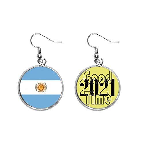 Pendientes de la bandera nacional de Argentina Sudamérica País Pendientes Pendientes Pendientes Pendientes Joyería 2021 Buena Suerte