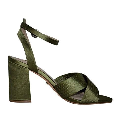Topshop Grüne Damen-Sandalen mit Knöchelriemen., Grün - grün - Größe: 38 EU