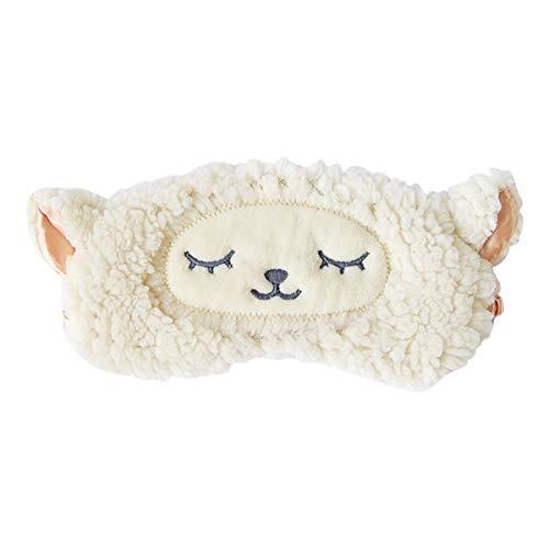 H HOMEWINS Schlafmaske 3D Süße Atmungsaktive Augenmaske aus 100% Naturseide & Plüsch Verstellbares Gummiband Schlafbrille Nachtmaske für Schlafen Reisen Party (Weiß Schafe)