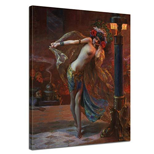 Wandbild Gaston Bussière Tanz der Sieben Schleier - 50x70cm hochkant - Alte Meister Berühmte Gemälde Leinwandbild Kunstdruck Bild auf Leinwand