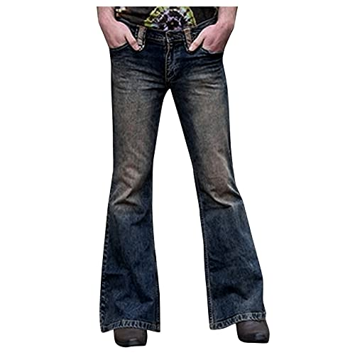 GenericBrands Taurner Pantalones de Campana Casuales Pantalones Vaqueros Hombre Punk Jeans Pantalón de Mezclilla Clásico con Bolsillo