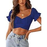 YANFANG Blusa Floral Delgada con Cuello Cuadrado y Estampado de Mariposas para Mujer,Camisas Blusas Tops Elegantes Casual Túnica Jersey T Shirt Tallas Grandes, Azul Oscuro,L