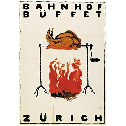 Hoteles de turismo en Suiza Bahnhofbuffet Zurich Pinturas clásicas en lienzo Carteles de pared vintage Decoración para el hogar Regalo 50x70 cm x1 Sin marco