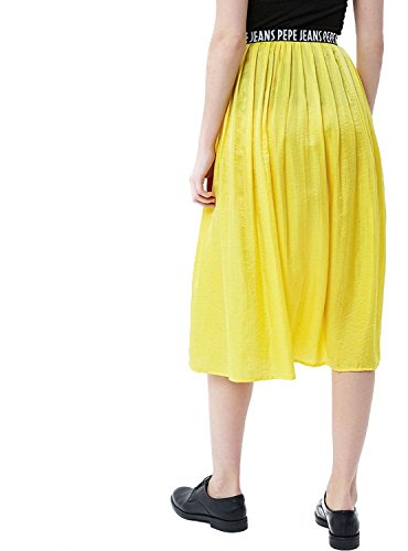 Falda amarilla para la noche (Bright Yello 064), Larga para Mujer