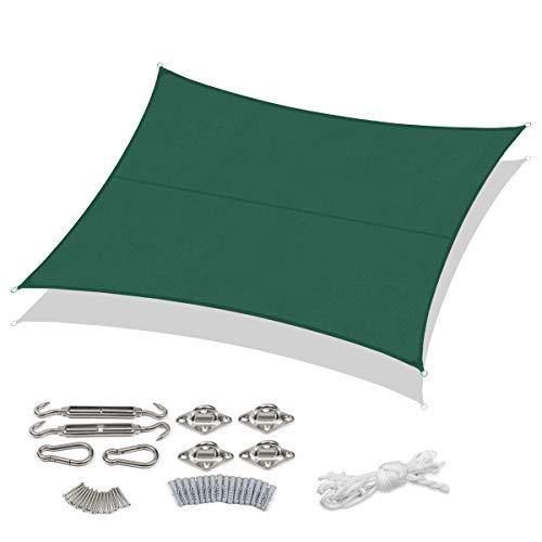 Sekey Sonnensegel Sonnenschutz PES Windschutz Wetterschutz Imprägniert 95% UV Schutz für Garten Outdoor Terrasse Camping Party, mit Seilen und Befestigung, 3 × 4m Grün