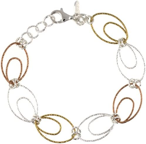 Sterling Silver Wire Oval All stores are sold Financial sales sale Hoop Diamond Bracelet 7.5 w in. Cut Wh