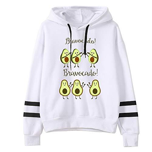 GLEYDY Sudaderas con Capucha Mujer Invierno Aguacate Impresión Pullover Larga Jersey Deportes Blusa Tops Deportiva Casual Anchas Camiseta Adolescentes Chicas Outwear,004,S