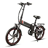 Liu Yu·casa creativa Bicicleta eléctrica Plegable 350W Motor 48V 10.4AH 20 Pulgadas Plegable Bicicleta eléctrica Power Assist Mountain Road Bicicleta eléctrica (Color : Negro)