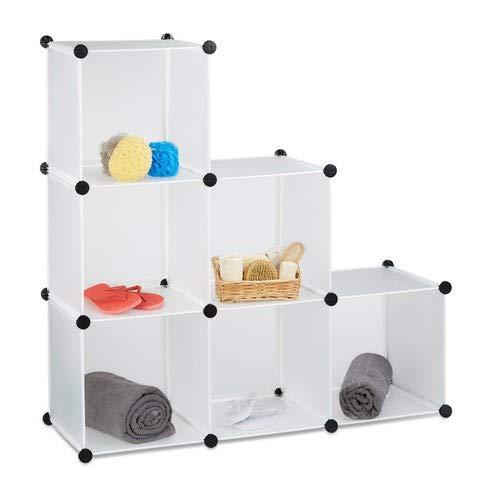 Relaxdays Stufenregal 6 Fächer, Steckregal als Kleiderschrank oder Raumteiler, offenes Regalsystem, weiß