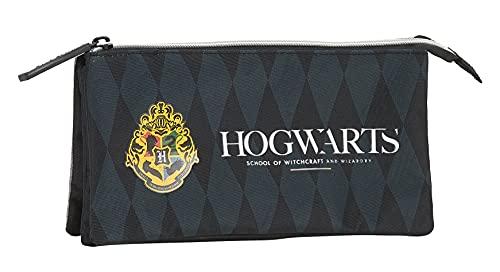 Safta Portatodo Triple de Harry Potter Hogwarts, 220x30x120 mm, Negro/Gris
