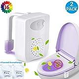 2 Pc UV Stérilisateur Lampe de Toilette Veilleuse LED Détecteur avec Aromathérapi,...