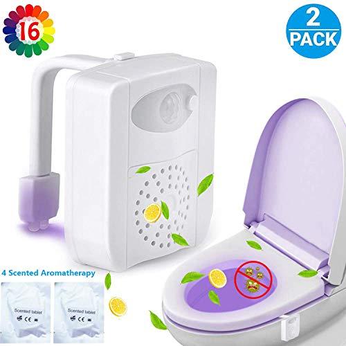 Zezhou 2 Stück Led Toilettenlicht, UV Sterilization WC Nachtlicht, Smartes Bewegung Sensor Aktiviert Toilette Licht mit Aromatherapie, 16 Farben Wechsel Sitz Beleuchtung für Kinder Eltern Badezimmer