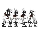 chiwanji 28x Edad Media Caballero Medieval Y Caballos Juguetes del Ejército Set Soldados de Infantería