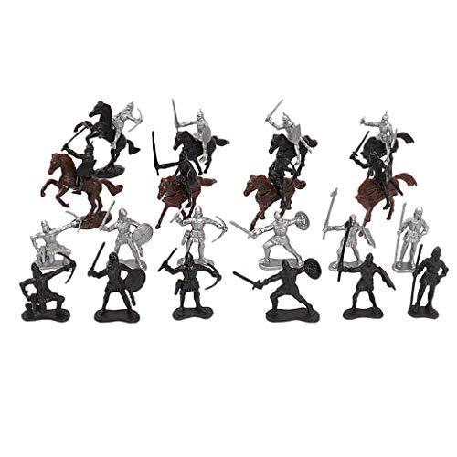 Sharplace 28 Piezas Figuras de La Edad Media Soldado Caballero Caballos Ejército Juguetes Conjunto Infantería Arquero Guerreros Y Escudo Espadachín Solda
