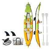 YIDPU Barcas Hinchables Set,con Asiento Inflable Válvula de Drenaje Pierna de Descanso Diseño de Aleta Grande,Apto para Deportes Acuáticos,Double