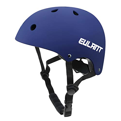 EULANT Casco Bici Niño, Casco Infantil para Monopatín Bicicleta Patinaje Scooter Esquiar, Tamaño de la Cabeza: 48-57cm, Azul