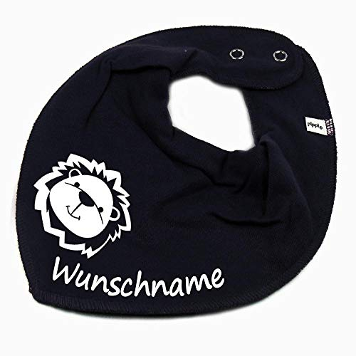 Elefantasie Elefantasie HALSTUCH Löwe mit Namen oder Text personalisiert dunkelblau für Baby oder Kind