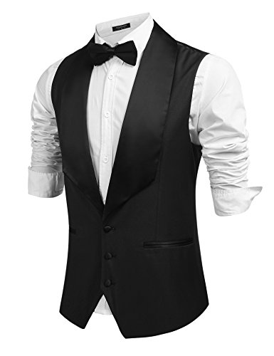 Coofandy Men's V-Neck Sleeveless Slim Fit Business Wedding Vests casual suit vests Dress Waistcoat