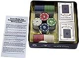 100 unids / Set Casino Poker Chips Kit Texas Poker Chips con Caja y 100 fichas de póquer y 2 fichas de Juego de póquer de plástico 1/5/10/25 Cuatro Tokens del Juego