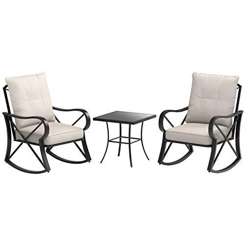 AmazonBasics 3-Piece Steel Rocking Chair Outdoor Patio Set